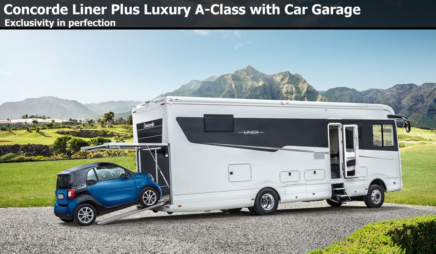 New concorde motorhomes for sale at southdowns motorhome for Class a rv with car garage